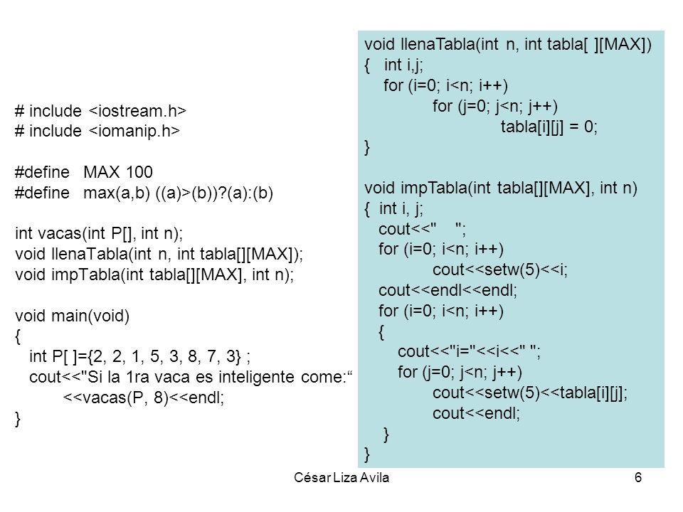 void llenaTabla(int n, int tabla[ ][MAX]) { int i,j;